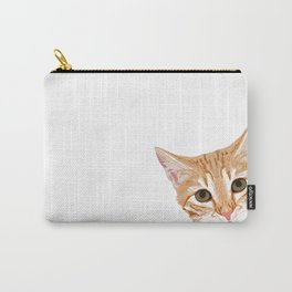Peeking Orange Tabby Cat - cute funny cat meme for cat ladies cat people Carry-All Pouch
