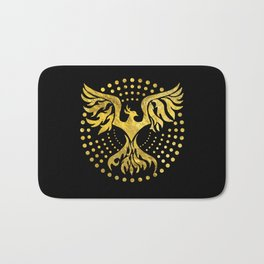 Gold Decorated Phoenix bird symbol Bath Mat