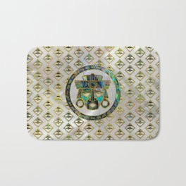 Tribal Ethnic  Mask Gold on Abalone Shell and Pearl Bath Mat