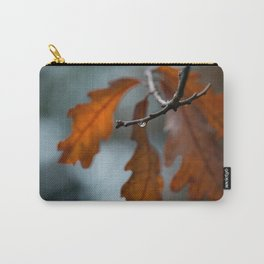 Rust Orange Oak Leaves in the Rain Carry-All Pouch