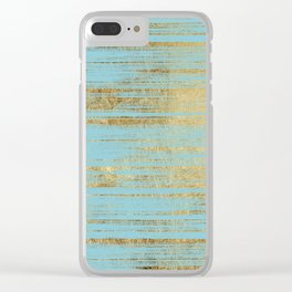 Chic Gold Brushstrokes on Island Paradise Blue Clear iPhone Case