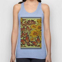 Butterfly & Sunflower Yellow Nature Patterns Unisex Tank Top
