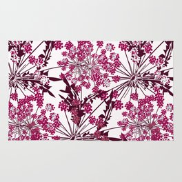 Laced crimson flowers on a white background. Rug