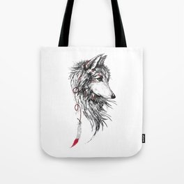 Feather Wolf Tote Bag
