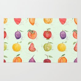 fruit collection watercolor Rug