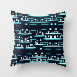 Snowy Cabins Throw Pillow