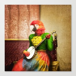 Banjo Birdy Plucks a Pretty Tune! Canvas Print