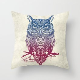 Evening Warrior Owl Throw Pillow