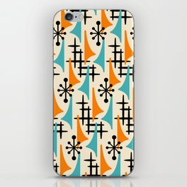 Mid Century Modern Atomic Wing Composition Orange & Blue iPhone Skin