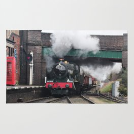 Vintage Steam Railway Train at the Station Rug