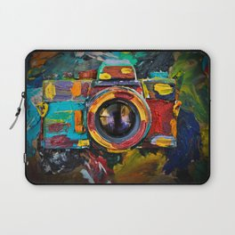 Painted old film camera on art background of palette covered with paint strokes. Laptop Sleeve