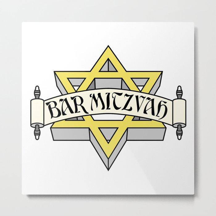 Bar Mitzvah with gold star of david Metal Print
