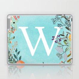 Personalized Monogram Initial Letter W Blue Watercolor Flower Wreath Artwork Laptop & iPad Skin
