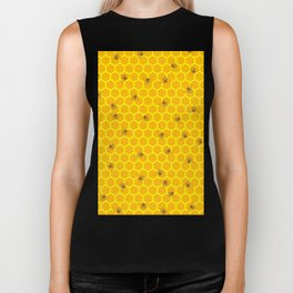 Mind Your Own Beeswax / Bright honeycomb and bee pattern Biker Tank