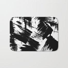 Modern black white watercolor brushstrokes pattern Bath Mat