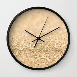 Beautiful champagne gold glitter sparkles Wall Clock