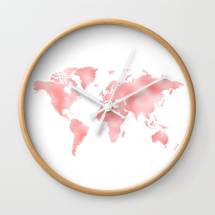 Pink shiny metal foil rose gold world map wall clock by betterhome pink shiny metal foil rose gold world map wall clock gumiabroncs Gallery
