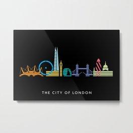 London Skyline Black Metal Print
