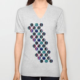 Abstract Mixed Media Series Sea Urchins 10 Unisex V-Neck