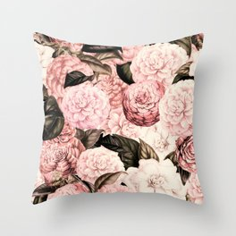 Vintage & Shabby Chic Pink Floral camellia flowers watercolor pattern Throw Pillow