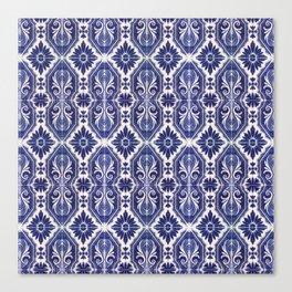 Portuguese Tiles Azulejos Blue White Pattern Canvas Print