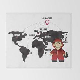 La casa de Papel Money Heist Map Throw Blanket