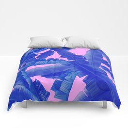tropical banana leaves pattern,pink,blue Comforters