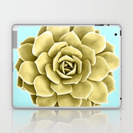 Yellow Succulent Plant on Teal Laptop & iPad Skin