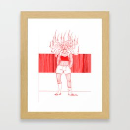 Candle Hair Red Framed Art Print