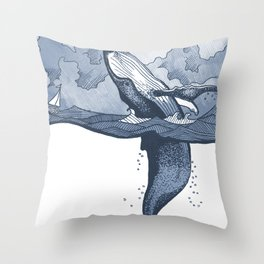 Hump Back Whale breaching in Stormy Seas with tiny boat - nautical themed illustration Throw Pillow
