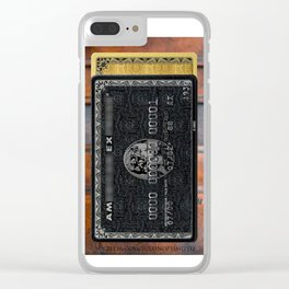 Amex in your hand - phone case - leather bg Clear iPhone Case