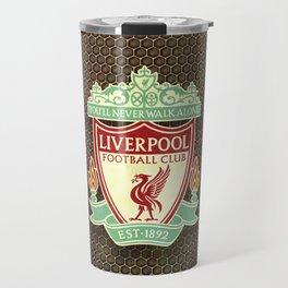 FC Liverpool metal background Travel Mug