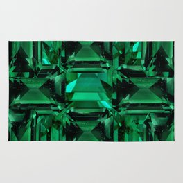 CLUSTERED FACETED EMERALD GREEN MAY GEMSTONES Rug