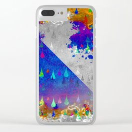 Abstract Colorful Rain Drops Design Clear iPhone Case