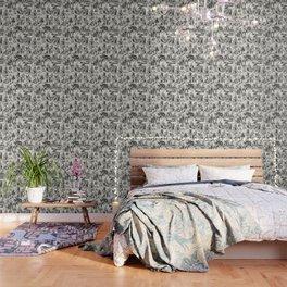Alice in Wonderland | Toile de Jouy | Black and Beige Wallpaper