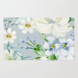 White and Blue Flowers Rug