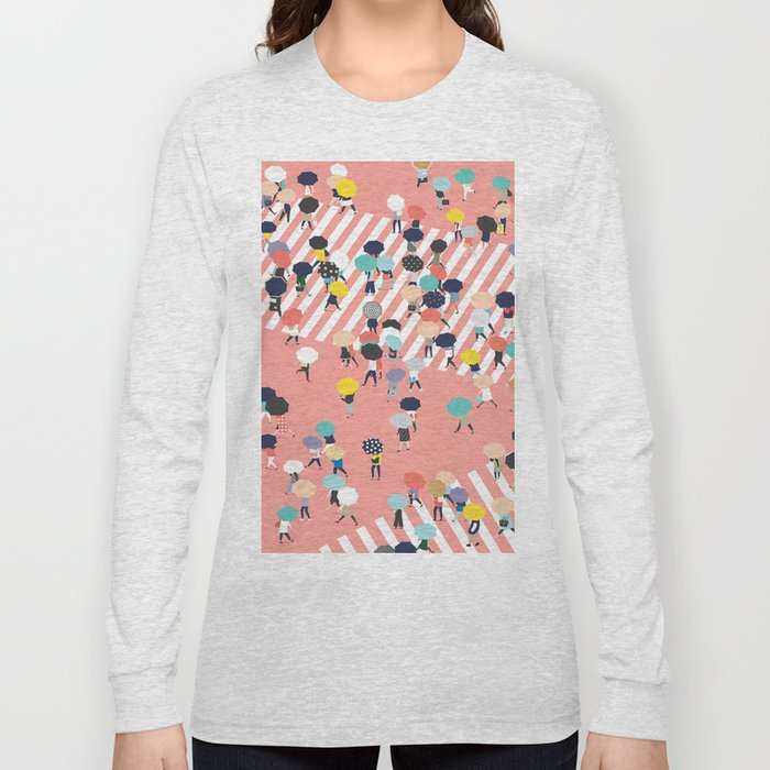 Crossing The Street On a Rainy Day Long Sleeve T-shirt