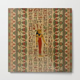 Egyptian Mut Ornament on papyrus Metal Print