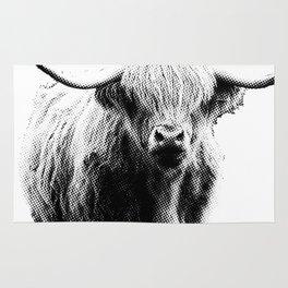 Newspaper Print Style Highland Cow. Scotland, Bull, Horns. Rug