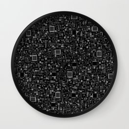All Tech Line INVERTED / Highly detailed computer circuit board pattern Wall Clock