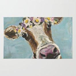 Flower Crown Cow Art, Cute Cow With Flower Crown Rug