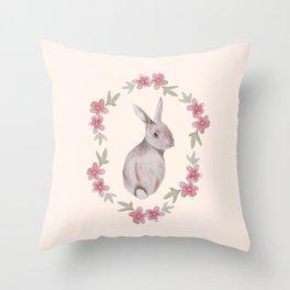 Floral Rabbit Throw Pillow