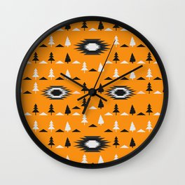 Pine trees- ethnic pattern Wall Clock