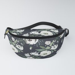 Blush pink white green black watercolor modern floral Fanny Pack