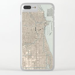 Vintage Map of Chicago (1893) Clear iPhone Case