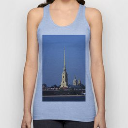The spire of the Peter and Paul Cathedral and the embankment of the Peter and Paul Fortress Unisex Tank Top