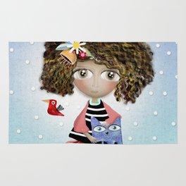 Art Doll - Kids Decor - Cat Winter snowing Rug