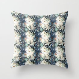 Happy Love Heart Family Pattern Blue Pastel Abstract Throw Pillow