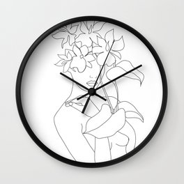 Minimal Line Art Woman with Flowers V Wall Clock