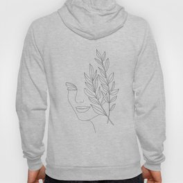 Minimal Line Art Woman Face Hoody